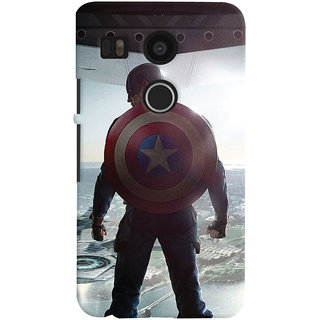 ColourCrust LG Google Nexus 5X Mobile Phone Back Cover With Captain America - Durable Matte Finish Hard Plastic Slim Case