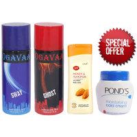 Combo of 2 Ogavaa Deodorant , Joy Honey Almond Body Lotion and Ponds Cold Cream