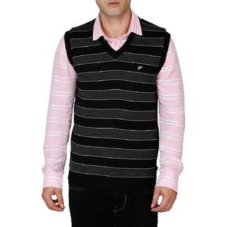 Integriti Black V-Neck Sleeveless Pullover For Men