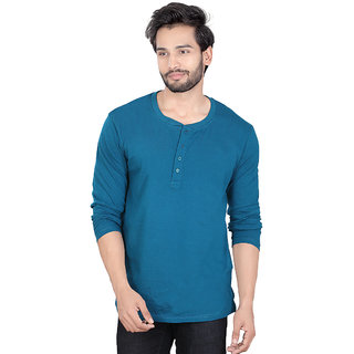 LUCfashion Green Round Neck Long Sleeve T-Shirt For Men