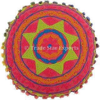 Embroidered Uzbek Suzani Round Mandala Cushion Cover Pink Floor Pillow Cases Decorative Home Dcor