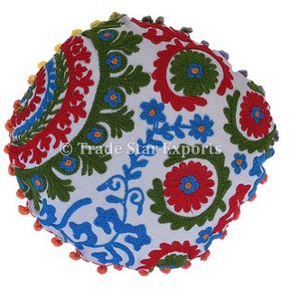 16 Indian Suzani Cushion Cover Decorative Round Embroidered Pillow Shams