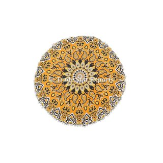 Indian Mandala Tapestry Floor Cushion Cover with Insert Meditation Round Pillows