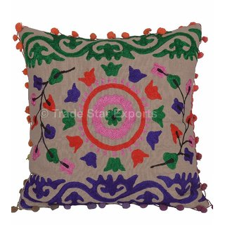 Vintage Suzani Embroidered Pillow Cover Throw Indian Cotton 16 Cushion Cover