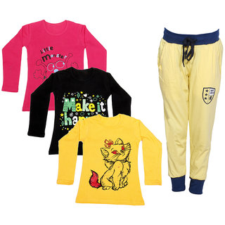 IndiWeaves Girls Combo Pack 4 (Pack of 3 Full Sleeves T-Shirts and 1 Lowers/Track Pant )_Red::Black::Yellow::Yellow_Size:-6-7 Years