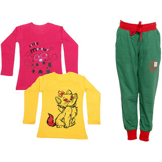 IndiWeaves Girls Combo Pack 3 (Pack of 2 Full Sleeves T-Shirts and 1 Lowers/Track Pant )_Red::Yellow::Green_Size:-6-7 Years