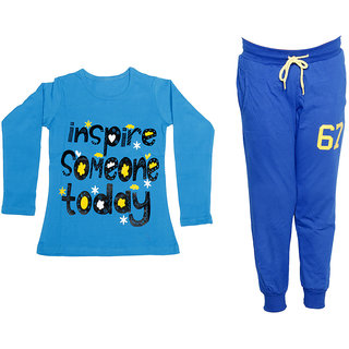 IndiWeaves Girls Combo Pack 2 (Pack of 1 Full Sleeves T-Shirts and 1 Lowers/Track Pant )_Blue::Blue_Size:-6-7 Years