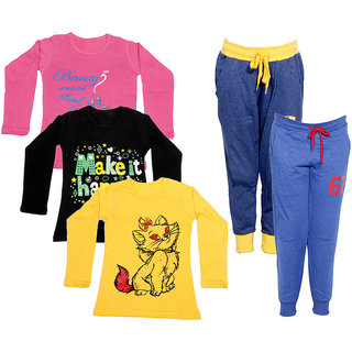 IndiWeaves Girls Combo Pack 5 (Pack of 3 Full Sleeves T-Shirts and 2 Lowers/Track Pant )_Multiple_Size:-6-7 Years