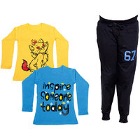IndiWeaves Girls Combo Pack 3 (Pack of 2 Full Sleeves T-Shirts and 1 Lowers/Track Pant )_Yellow::Blue::Black_Size:-6-7 Years