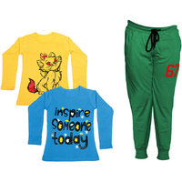 IndiWeaves Girls Combo Pack 3 (Pack of 2 Full Sleeves T-Shirts and 1 Lowers/Track Pant )_Yellow::Blue::Green_Size:-6-7 Years