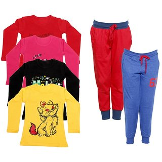IndiWeaves Girls Combo Pack 6 (Pack of 4 Full Sleeves T-Shirts and 2 Lowers/Track Pant )_Multiple_Size:-6-7 Years