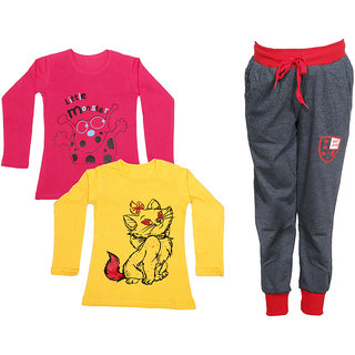 IndiWeaves Girls Combo Pack 3 (Pack of 2 Full Sleeves T-Shirts and 1 Lowers/Track Pant )_Red::Yellow::Grey_Size:-6-7 Years
