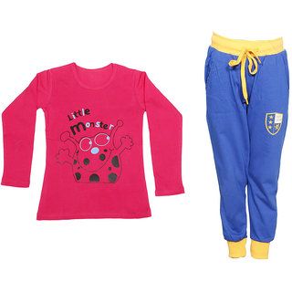 IndiWeaves Girls Combo Pack 2 (Pack of 1 Full Sleeves T-Shirts and 1 Lowers/Track Pant )_Red::Blue_Size:-6-7 Years