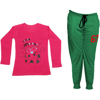 IndiWeaves Girls Combo Pack 2 (Pack of 1 Full Sleeves T-Shirts and 1 Lowers/Track Pant )_Red::Green_Size:-6-7 Years