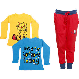 IndiWeaves Girls Combo Pack 3 (Pack of 2 Full Sleeves T-Shirts and 1 Lowers/Track Pant )_Yellow::Blue::Red_Size:-6-7 Years