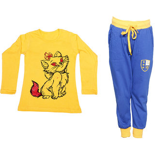 IndiWeaves Girls Combo Pack 2 (Pack of 1 Full Sleeves T-Shirts and 1 Lowers/Track Pant )_Yellow::Blue_Size:-6-7 Years