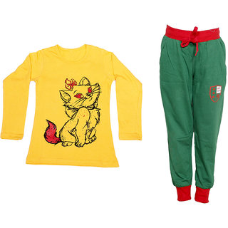 IndiWeaves Girls Combo Pack 2 (Pack of 1 Full Sleeves T-Shirts and 1 Lowers/Track Pant )_Yellow::Green_Size:-6-7 Years
