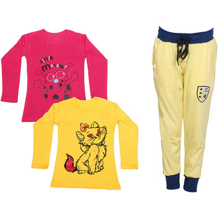 IndiWeaves Girls Combo Pack 3 (Pack of 2 Full Sleeves T-Shirts and 1 Lowers/Track Pant )_Red::Yellow::Yellow_Size:-6-7 Years