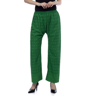 One Femme Womens Full Embroidered Cotton Pants / Pyjama