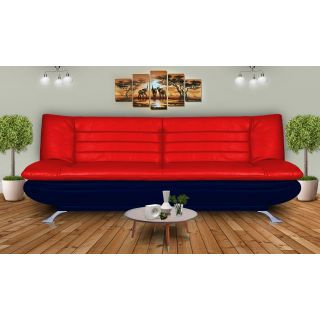 Elite Dolphin 3 Seater Sofa Bed Leatherrete-Red  N.Blue