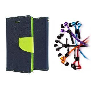 Microsoft Lumia 950 XL Wallet Diary Flip Case Cover Blue With Zipper Earphone