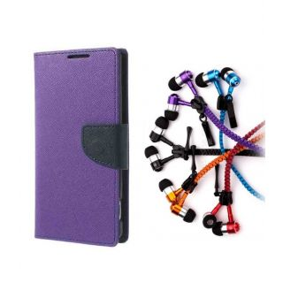 Micromax Bolt Q338 Wallet Diary Flip Case Cover Purple With Zipper Earphone