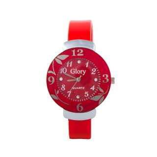 Circular Dial Red Strap Dial Watch For Women,GIRLS AND LEADISH