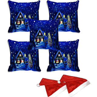 meSleep Set of 5 Blue Merry Christmas House Digitally Printed Cushion Cover (16x16)-With 2 Pcs Free Christmas Hats