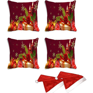 meSleep Set of 4 Red Merry Christmas Digitally Printed Cushion Cover (16x16)-With Free 2 Pcs Free Christmas Hats