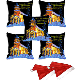 meSleep Set of 5 Multi  Christmas House  Digitally Printed Cushion Cover (16x16)-With 2 Pcs Free Christmas Hats