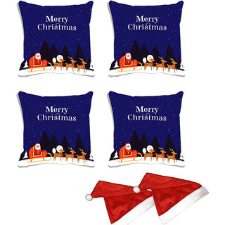 meSleep Set of 4 Multi Merry Christmas  Digitally Printed Cushion Cover (16x16)-With Free 2 Pcs Free Christmas Hats