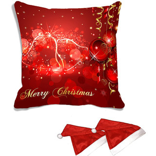 meSleep Red  Merry Christmas  Digitally Printed Cushion Cover (16x16) - With 2 Pcs Free Christmas Hats
