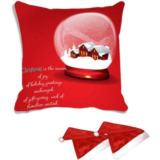 meSleep Red Christmas House   Digitally Printed Cushion Cover (16x16) - With 2 Pcs Free Christmas Hats