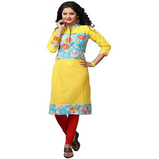 Minu Suits Charming Yellow Casual Floral Print Women's Kurti