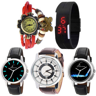 Combo of 5 Different Watches For Men, Women And Kids