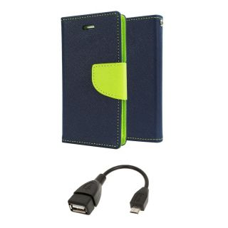 Samsung Galaxy Grand Max G7200 Wallet Diary Flip Case Cover Blue With OTG Cable