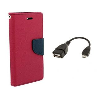 Micromax Canvas Magnus A117 Wallet Diary Flip Case Cover Pink With OTG Cable