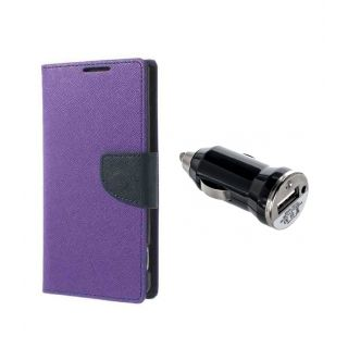 Micromax Canvas Magnus A117 Wallet Diary Flip Case Cover Purple With Car Charging Adapter