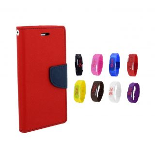 Samsung Galaxy Trend S7392 Wallet Diary Flip Case Cover Red With Digital Watch
