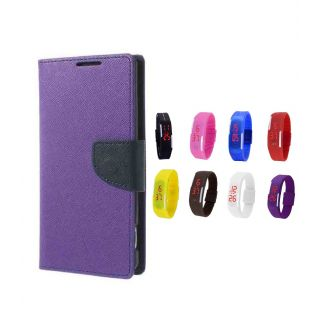 Micromax Canvas Magnus A117 Wallet Diary Flip Case Cover Purple With Digital Watch