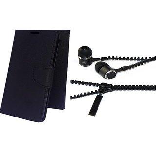 Mercury Wallet Flip case cover for Asus Zenfone 5  (BLACK) With Zipper Earphone(Assorted Color)