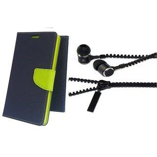 Mercury Wallet Flip case cover for Asus Zenfone Selfie ZD551KL  (BLUE) With Zipper Earphone(Assorted Color)