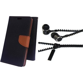 Mercury Wallet Flip case cover for Lenovo A6000  (BROWN) With Zipper Earphone(Assorted Color)