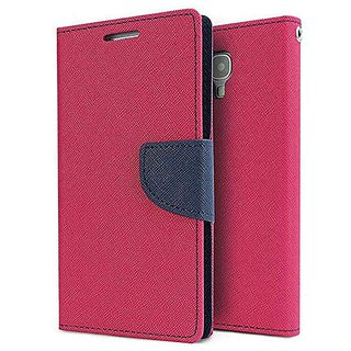 Mercury Wallet Flip case cover for Reliance Lyf Earth 2  (PINK)