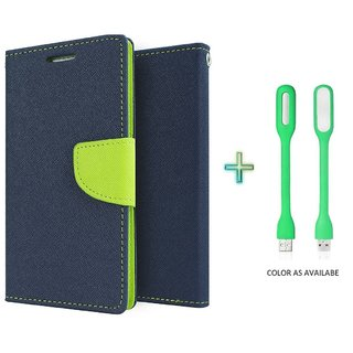 Mercury Wallet Flip case cover for Micromax Canvas Play Q355  (BLUE) With USB Light(Assorted Color)