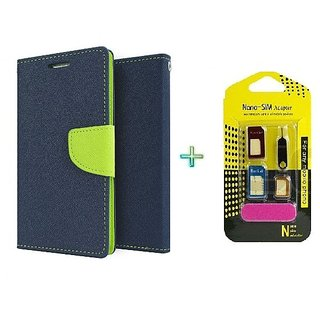 Mercury Wallet Flip case cover for Lenovo A1000  (BLUE) With Nano Sim Adapter