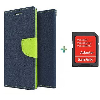 Mercury Wallet Flip case cover for Micromax Canvas Play Q355  (BLUE) With Sandisk SD Memory Card Adapter