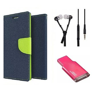 Wallet Flip cover for Micromax Canvas Spark Q380  (BLUE) With Zipper Earphone(3.5mm) & Memory Card Reader (Assorted Color)