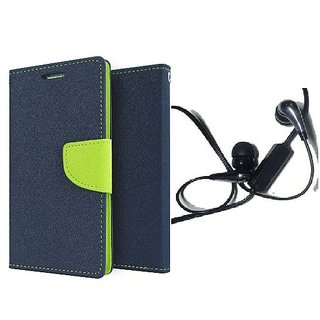 Mercury Wallet Flip case cover for Micromax Canvas Play Q355  (BLUE) With 3.5mm Jack Earphone