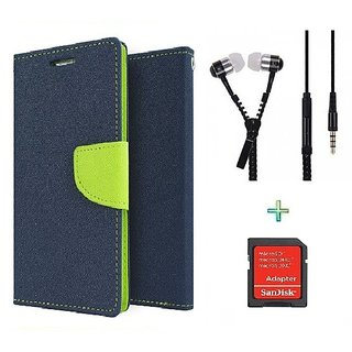 Wallet Flip cover for Micromax Canvas Selfie Lens Q345  (BLUE) With Zipper Earphone(3.5mm) & SD Memory Card Adapter (Assorted Color)